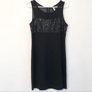 Kensie Black Sequin Fitted Cocktail Dress Sz M